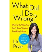 What Did I Do Wrong?: What to Do When You Don't Know Why the Friendship Is Over, Paperback/Liz Pryor