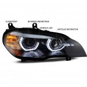 Phares xenon BMW X5 E70 Angel Eyes LED 08-10 - Noir directionnels
