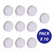 Pack 10 Focos Panel Plafon Led Sobrepuesto Redondo 12w