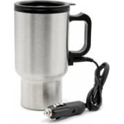 Bluebells India Car Travel Electric Mug Silver Double Wall Stainless Steel for Hot Coffee Drinks Spill Proof Cup Electric Kettle(0.450 L, Silver)