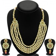 Sukkhi Blossomy Five Strings Gold Plated Kundan Necklace Set