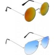 Abner Round, Aviator Sunglasses(Multicolor, Blue)