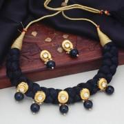 Sukkhi Fancy Black Silk Thread Kundan Necklace Set For Women