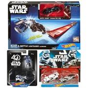 Hot Wheels Dark Side Star Wars Lightsaber Blast & Battle Darth Vader Vehicle + First Order Storm Trooper Captain Phasma Character Car Set 2 Pack & R2-D2 Droid Character
