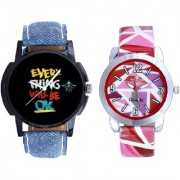 Super Black Dial And Multi Pink Art Couple Analogue Watch By Ganesha Exim