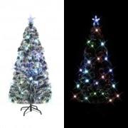 vidaXL Изкуствено коледно дърво със стойка/LED, 210 см, 280 клона