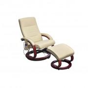 vidaXL Cadeira massagem elétrica c/ apoio pés couro artificial creme