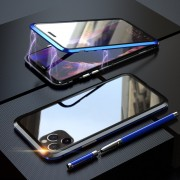 LUPHIE Double Sided Magnetic Metal + Tempered Glass Phone Cover for Apple iPhone 11 Pro 5.8 inch - Blue/Black