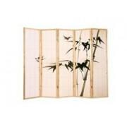 Parawan drewniany, japoński, ręcznie malowany 5 segmentowy