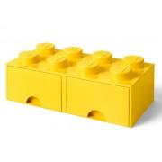 40061732 Cutie depozitare LEGO 2x4 cu sertare, galben