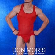 Don Moris Sheer Tank Top T Shirt Red DM080892