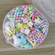 Elloapic 300 pcs Beads Maze Beading Supplies in a Cat shape box,Stringing Beads,Children's DIY Beads Bracelet Hair Clasp Necklace Kids Handmade Skills Toy Beads Gifts for Christmas,Birthday Wedding