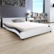 vidaXL Cadru de pat cu piele artificială 140 x 200 cm, negru și alb