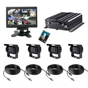 TrackSec 4 canales AHD 720P HDD DVR móvil sistema de cámara Kit de caja negra de coche apoyo 4 G seguimiento en tiempo real, GPS de seguimiento, G-sensor, disco duro de 2TB copia de seguridad, 4 AHD cámaras y más