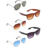 Zyaden Aviator, Aviator, Aviator, Wayfarer, Wayfarer Sunglasses(Green, Brown, Blue, Brown, Black)