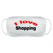 I Love shopping face mask cover reusable washable comfy fit white double layered