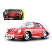 Bburago 22079R 1961 Porsche 356 B Coupe Red 1-24 Diecast Model Car