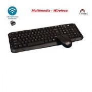 D-Dime D-110 Multimedia Black Wireless Desktop Keyboard (USB Dongle is inside Mouse battery cover)