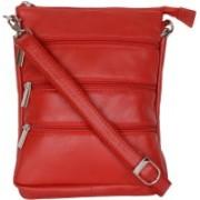 Blu Whale Men & Women Red Genuine Leather Sling Bag