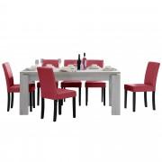 [en.casa] Set de comedor mesa 'Helsinki' (blanca - 170 x 79 cm) 6 sillas (tapizadas - granate) - set ahorro