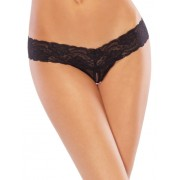Crotchless Mesh Thong - Plus Size Fits 38-42
