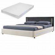 [my.bed] Elegantná manželská posteľ s LED osvetlením - matrac zo studenej HR peny - 180x200cm (Záhlavie: alcantara koženka tmavo sivá / Rám: textil krémová) - s roštom
