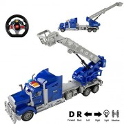 1:15 Scale Radio Remote Control Fire Rescue Trailer Truck with Extending Crane and Basket, Battery Powered RC Toy Truck Vehicle with Lights & Sounds, Great Gift for Kids ( Blue )