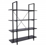 HOMCOM Four Tier Industrial Vintage Shelf Unit Storage Rack Display Stand Wooden Black