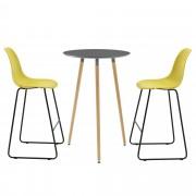 [en.casa]® Комплект кръгла дизайнерска бар маса с 2 стола, Тъмносив/Горчица