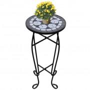 vidaXL Mosaic Side Table Plant Black White