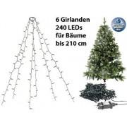 Weihnachtsbaum-Überwurf-Lichterkette mit 6 Girlanden & 240 LEDs, IP44   Lichterkette