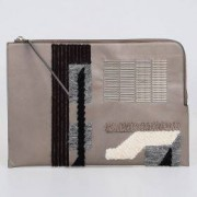 Rick Owens Borsa Porta Pc Embroidery Large Zipped Pouch In Pelle Light Combo Autunno-Inverno Art. 75109
