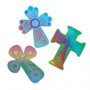 "Colored Cross Magic Scratch ~ 24 crosses / 12 scratching tools ~ 4"" x 3"" ~ New"
