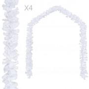 vidaXL Коледни гирлянди, 4 бр, бели, 270 см, PVC