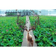 Ingooood Lotus Deer Home Wall Decoration Wooden Toy Jigsaw Wooden Puzzles 1000 Pieces Gift for Friends