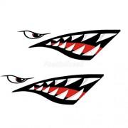 Electroprime® 4Pcs Skeleton Fish Shark Mouth Canoe Kayak Decals Fishing Boat Wall Graphics