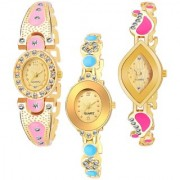 Varni Retail GoldPink Oval Diamond Gold Dial Gold Dial Cross Rectangle pink Dmd 3 Combo Watch For Girls