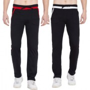 Cliths Set of 2 Casual Cotton Lowers For Men/ Red Black Black White Trackpants for Men
