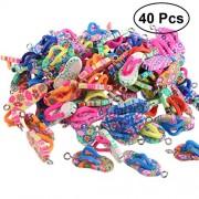 40pcs Artificial Soft Clay Personalized Flip-Flop Ornament Pendant DIY Bracelet Necklace Jewelry Accessories(Mixed Color)