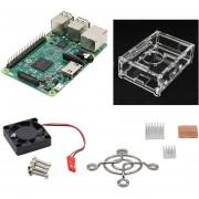 Raspberry Pi 3 Modelo B + V31 Caja De Acrílico + + 3 Disipadores De Calor De Ventilador - Verde