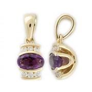 Luxusní přívěsek ze žlutého zlata s diamanty a fialovým ametystem 585/0,75gr