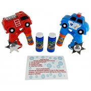 Bubble Guns for Kids with Light Up Police Car and Fire Truck Guns with Extra Bubbles and Colored Bubbles Recipe Card by Imprints Plus (11 Pc Bundle)