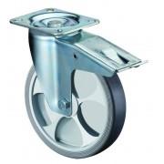 BS Rollen Lenkrolle mit Feststeller, thermoplastisches Gummirad, Kunststofffelge, Rollenlager, Durchmesser 80 mm