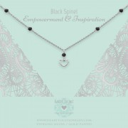 Heart to get N348GOB16S necklace gemstone with charm Open heart, Black Spinel empowerment & inspiration silver
