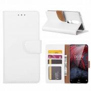 Luxe Lederen Bookcase hoesje voor de Nokia 6.1 Plus - Wit