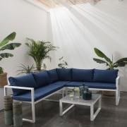Happy Garden Salon de jardin modulable IBIZA en tissu bleu 4 places - aluminium blanc
