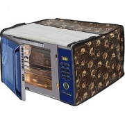 Glassiano Floral Brown Printed Microwave Oven Cover for Panasonic 20 Litre Convection Microwave Oven NN-CT254BFDG Black