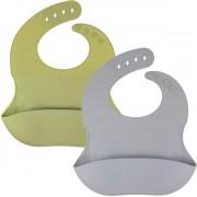 Siliconen slabbetje KliederZ – slab met opvangbakje set 2 stuks slabbers baby jongens – waterdicht - kraamcadeau - SB05