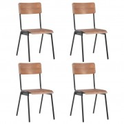 vidaXL Трапезни столове, 4 бр, кафяви, твърд шперплат, стомана