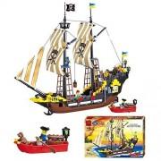 Otulet Pirate Ship Boat Building Bricks Blocks 590pcs Set Toy Gift (With Otulet Free Brick Separator)